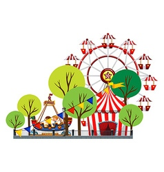 Ferris wheel and children on the ride vector image