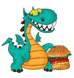 great dragon and burger vector image vector image