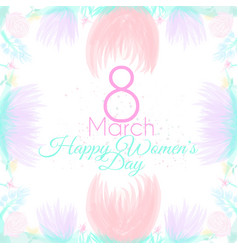 march postcard with flowers vector image