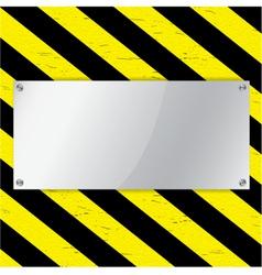 Metal frame on warning stripe background vector image vector image