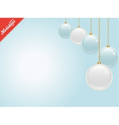 Christmas blue copy space with baubles vector image vector image