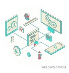 isometric of website analytics vector image vector image