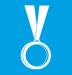 medal icon white vector image