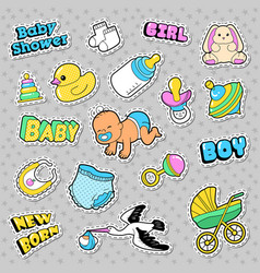 new born baby stickers patches badges vector image vector image