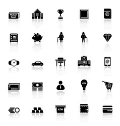 Personal financial icons with reflect on white vector image