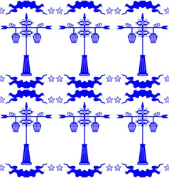 Seamless pattern with streetlight in Dutch tile vector image vector image