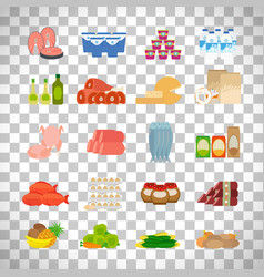 supermarket food icons on transparent background vector image vector image