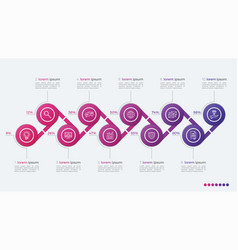 timeline infographic design with ellipses 10 steps vector image vector image