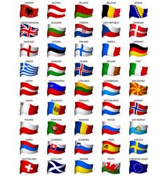 wavy European flags set vector image