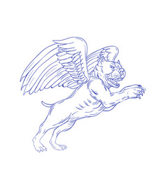 American bully with wings drawing vector
