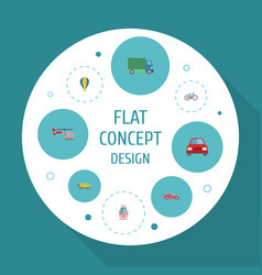 Flat icons automobile streetcar chopper and vector