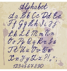 hand-written alphabet on old paper with blots vector image