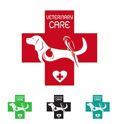 image of veterinary symbol with dog cat and bird vector image