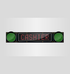 shining retro light banner cashier sign on a black vector image vector image