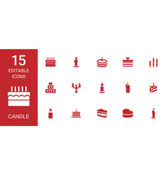 15 candle icons vector image