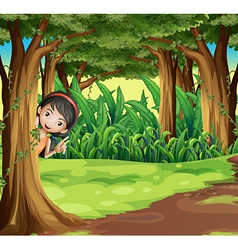 A young girl hiding at the forest vector