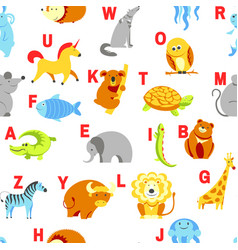 alphabet animals and letters study material vector image