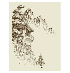 alpine sketch background mountain hut pine tree vector image