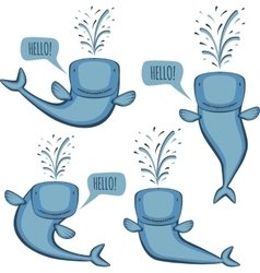 Animated whale set vector image