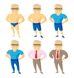 athletic old men set cartoon character vector image