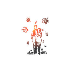 autumn couple love fall romantic concept hand vector image