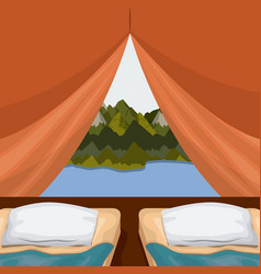 background interior camping tent with double pad vector image