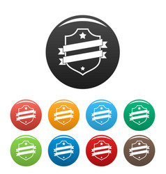 badge business icons set color vector image