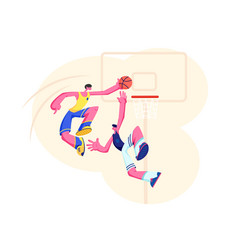 Basketball players in action attack man ball vector