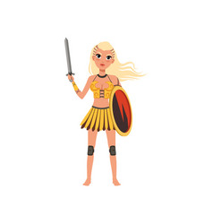 Beautiful blonde amazon girl character ancient vector