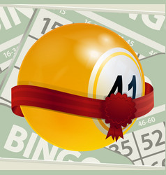 Bingo ball and ribbon on numbers background vector