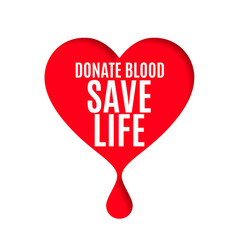 Blood donor day poster with heart and blood drop vector