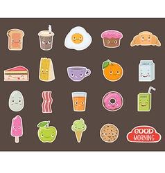 Breakfast Different emotions stickers collection vector