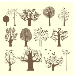 Brown trees set vector image