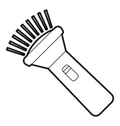 Burning flashlight icon outline style vector image