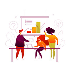 business presentation - flat design style colorful vector image