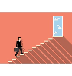 Businessman stepping up a staircase to success vector