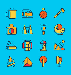 Camping and adventure line icon set vector