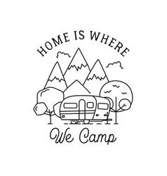 Camping line art logo design vintage adventure vector