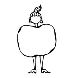 caricature apple female body shape sketch hand vector image