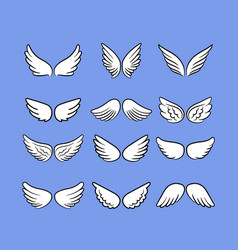 cartoon angel wings set hand drawn wings isolated vector image