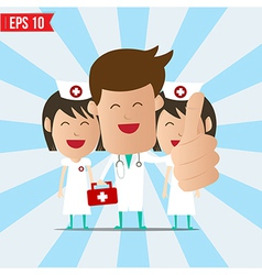 Cartoon doctor and nurse smile and show thumb up vector