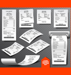 Cash register sale receipt printed on thermal vector