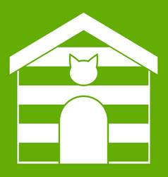 cat house icon green vector image