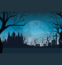 Cemetery graveyard grave stone night full moon vector