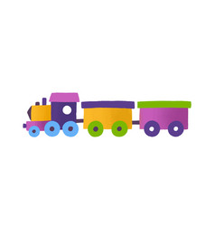 childish toy train with wagons vector image