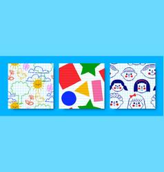 children doodle cartoon seamless pattern set vector image
