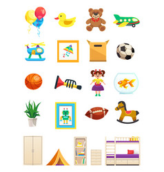 Children room interior objects set vector