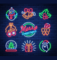 Christmas neon signs on vector