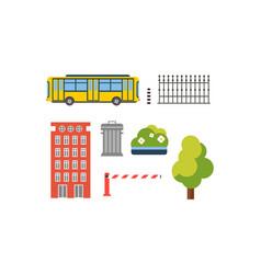 city street elements set urban infrastructure vector image