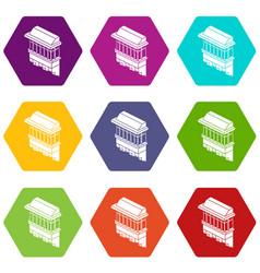 classic balcony icons set 9 vector image